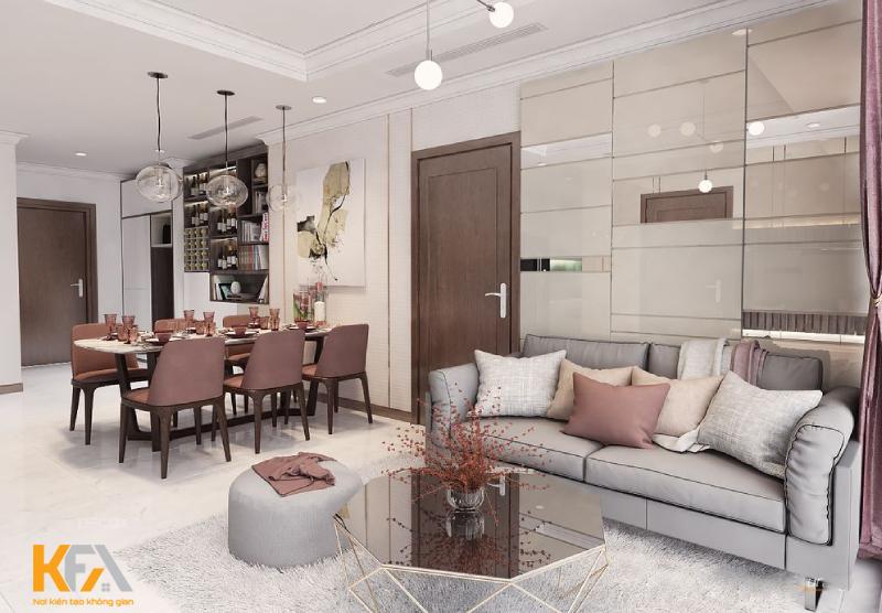 Thiết kế phòng khách, nội thất căn hộ 3 phòng ngủ