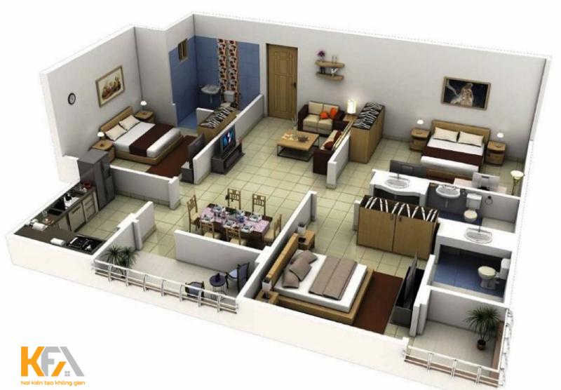 Bản thiết kế demo chung cư 3 phòng ngủ